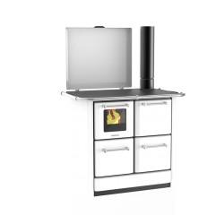 Cuisinière à bois 145 GN V Sole acier émaillé blanc - Flamme visible