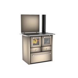 Cuisinière à bois Gaia 138 V acier émaillé cappuccino - Flamme visible