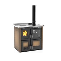 Cuisinière à bois hydro Ilaria 703 T-I acier émaillé marron