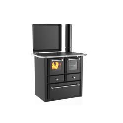Cuisinière à bois Gaia 138 V acier émaillé gris foncé - Flamme visible